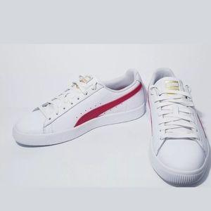 Puma Clyde Core L Foil, White / Red / Gold, sz 11